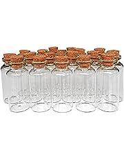 MINGZE 20 stuks 20 ml kleine mini-glazen flessen monsterglazen met kurk, kurksluiting glazen flesjes kurkflessen voor doe-het-zelf decoratie