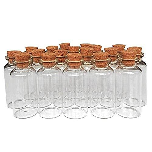 MINGZE 20 Piezas 20 ml Pequeñas Botellas de Cristal Botellas de Vidrio Pequeñas Frascos de Muestra con Tapones de Corcho para decoración de DIY, Aromas, Aceites, Especias, Dijes, Bodas, Mensaje