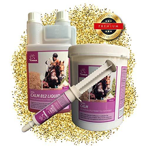 EMMA® SPARSET- ⭐ Magnesium Kalmte voor paarden, vitamine E, B12, tryptofaan I Poeder, vloeistof & pasta I Kalmerend voor de zenuwen 1 L, 1 Kg, 30 ml 1L I
