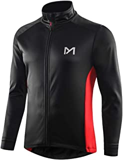 Men's Winter Thermal Cycling Jackets, Windproof Breathable Fleece Bike Jerseys, Bicycle Softshell Shirt Long Sleeves Coat