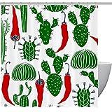 FURINKAZAN Cortina de ducha resistente con ganchos, diseño de cactus y chile
