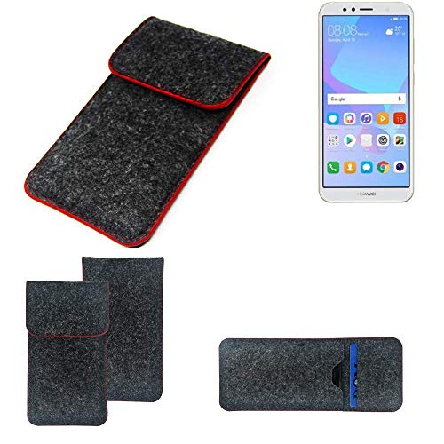 K-S-Trade Handy Schutz Hülle Für Huawei Y6 (2018) Dual-SIM Schutzhülle Handyhülle Filztasche Pouch Tasche Hülle Sleeve Filzhülle Dunkelgrau Roter Rand