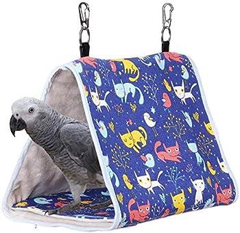 Wonninek Bird's Nest Cabin Parrot Habitat Hanging Petit et Moyen Perroquet Perroquet Perruches Eclectus Perruche Inséparable Perroquet Gris d'Afrique (Chat Bleu)