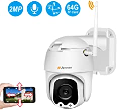 WiFi Camera Outdoor 1080P, Jennov Wireless IP Security Camera with Pan & Tilt Two Way Audio Night Vision and Motion Detection Pre-Installed 64G Micro SD Card Waterproof Remote View