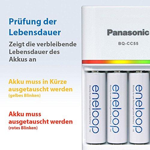 Panasonic eneloop, Intelligentes Schnellladegerät, für 1-4 Ni-MH Akkus AA/AAA, mit LED-Anzeige und Einzelschachtüberwachung, Weiß