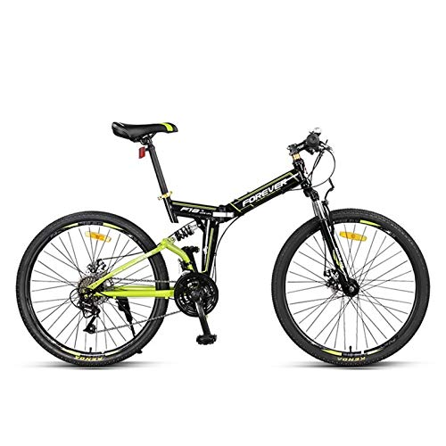 LLF Mountain Bike Folding Bikes, 24-Speed Double Disc Brake Full Suspension Anti-Slip, Off-Road Variable Speed Racing Bikes for Men and Women (Color : Black)