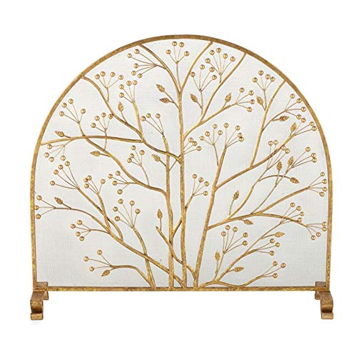 Best Buy! JLXJ Gold Modern Fireplace Screen with Leaf Pattern, Tall: 90cm, Single Panel Metal Mesh S...