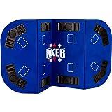 Maxstore - Tapis de Poker Pliable Straight - XXL - pour Jusqu'à 8 Joueurs - 160 x 80 cm Panneau MDF - 8 Porte-gobelets - 8 bacs à jetons, Bleu