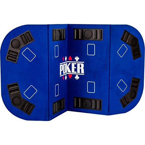Maxstore - Tapis de Poker Pliable Straight - XXL - Couleur au Choix - pour Jusqu'à 8 Joueurs - 160 x 80 cm Panneau MDF - 8 Porte-gobelets - 8 bacs à jetons, Bleu
