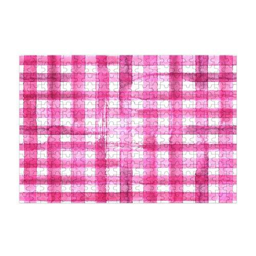 Nicokee Rompecabezas abstracto geométrico a cuadros abstractos textura de arte abstracto rompecabezas de la imagen rosa vintage rompecabezas de madera 300 piezas 35 pulgadas x 10.2 pulgadas