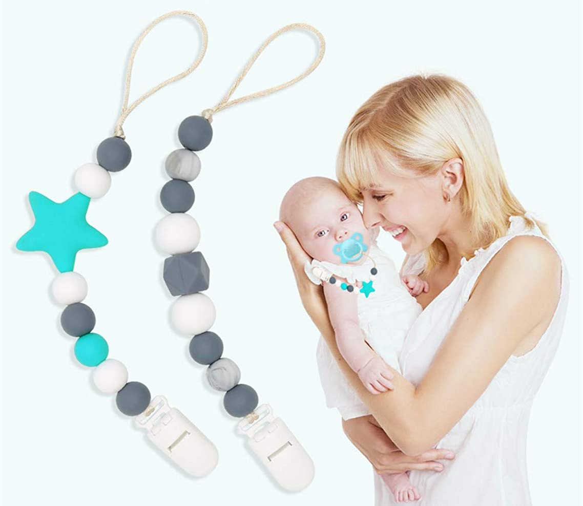 Clan-X Baby Silicone Pacifier Clip Teething Beads for Girls& Boys -Set of 2 - Baby Universal Teething Chain &Soothie Leash for All Style Pacifiers (Green+Gray)