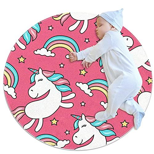 Alfombra Redonda Alfombra Redonda Unicornio Arcoiris Lindo Alfombra para Dormitorio Habitación Infantil Habitación Infantil