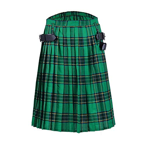 Kilt Rock New Mens Kilt Traditioneller Plaidgürtel Plissee Bilaterale Kette Braun Gothic Punk Scottish Tartan Hosenröcke S Color2
