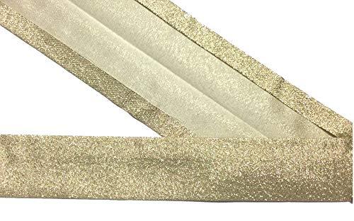 Großhandel für Schneiderbedarf 3 m Lurex-Schrägband Gold 30 mm vorgefalzt 2,66 €/m