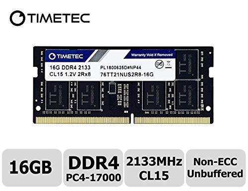 Timetec Hynix IC 16GB DDR4 2133MHz PC4-17000 Unbuffered Non-ECC 1.2V CL15 2Rx8 Dual Rank 204 Pin SODIMM Laptop Notebook Computer Memory RAM Module Upgrade (16GB)