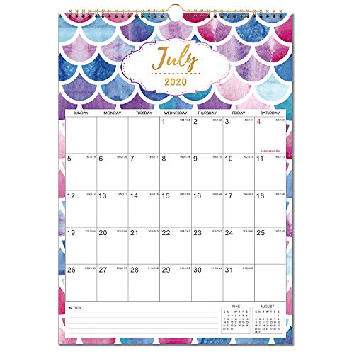 "Calendar 2020-2021 - 18 Monthly Wall Calendar, Jul. 2020 - Dec. 2021, 12"" x 17"", Twin-Wire Binding, Large Blocks with Julian Dates, Perfect for Planning and Organizing Your Home and Office"