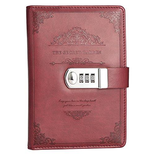 Cizen Quaderno Scrittura, Diario in Pelle con Lucchetto, Retro Notebook e Block Notes per Il Supporto All apprendimento (Rosso)