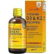 Vitamin D3 & K2 Tropfen (60ml flüssig) - MK7 99,7% All-Trans - 2.000 vegetarische Tropfen pro Flasche - Hochdosiert mit 1.000 I.E. Vitamin D3 und 50mcg K2 pro Tropfen - Hergestellt von Nutravita