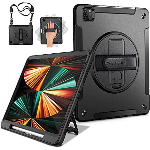 Miesherk Hülle für iPad Pro 12.9 2021 5. Generation: Militärische Robuste 3-Schichte stoßfeste Schutzhülle Stifthalter - 360° Drehbare Ständer-Handschlaufe - Schultergurt -Schwarz