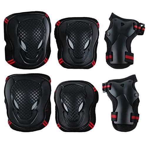 Alivier Kit 6 in 1 Ginocchiere per Bambino/Adulto Set Protezioni per Polso Regolabili Protezione di Sicurezza per Pattini a rotelle Bike Bike Skateboard Pattini in Linea Equitazione Sport