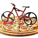 Yemiany Cortador de pizza con forma de bicicleta,Cortador de pizza con forma de bicicleta,ruedas de corte individuales de acero inoxidable con soporte,cortador para pizza y masa de frutas(20x10cm)