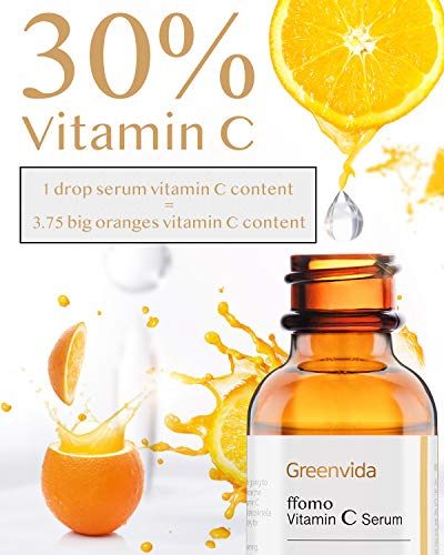51 Y dXCjnL - 30% Vitamin C Serum for Face and Skin, Anti-Aging Anti-Wrinkle Natural Face Serum with Hyaluronic Acid, Vitamin E- Fades Age Spots, Brighten Skin Tone, 1 fl oz