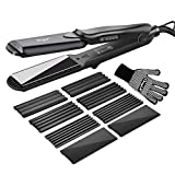 Hair Crimper, inkint Crimping Irons Hair Wavers Hair Straighteners with 4 Interchangeable Tourmaline Ceramic Plate Adjustable Temperature for All Hair Types