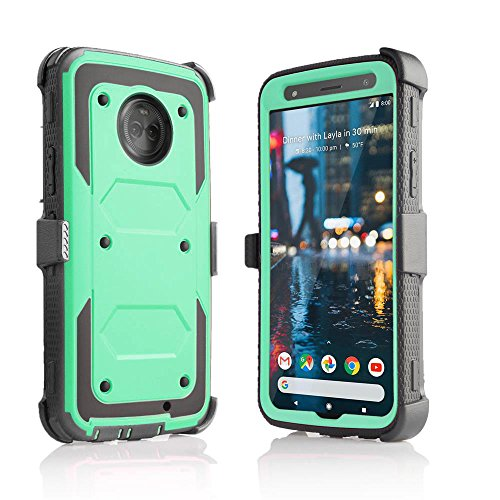 Moto X4 Belt Clip Case, Customerfirst [DuraClip] Holster Shell Combo (w/Rubberized Grip Finish) for Motorola Moto X4-2017 Release (Teal)