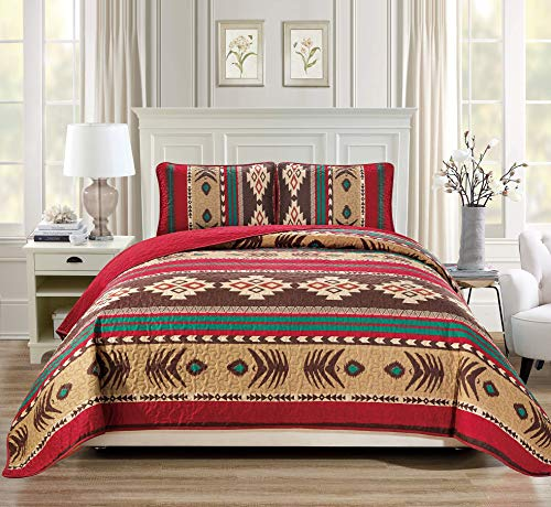 Rugs 4 Less Western Southwestern Native American Tribal Navajo Design Oversize Quilted Bedspread in Brown Green and Burgundy Mojave (King/Cal-King)