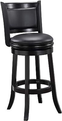 Boraam Augusta Bar Height Swivel Stool 29 Inch Black Furniture Decor