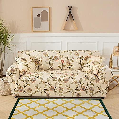 Funda Sofa Elastica 3 Plazas Protector para Sofás Antideslizante Funda Longue Chaise Cubre Sofa de Poliéster Decorativas Cubierta para sofá Ajustables - Planta de Flor