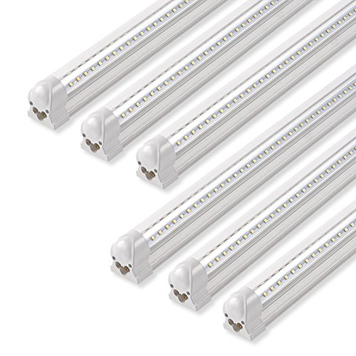 Barrina LED Shop Light, 40W 5000LM 5000K, 4FT Integrated Fixture, V Shape,T8 Light Tube, Daylight White, Clear Cover, Hight Output, Strip Lights Bulb for Garage Warehouse Workshop Basement (Pack of 6)
