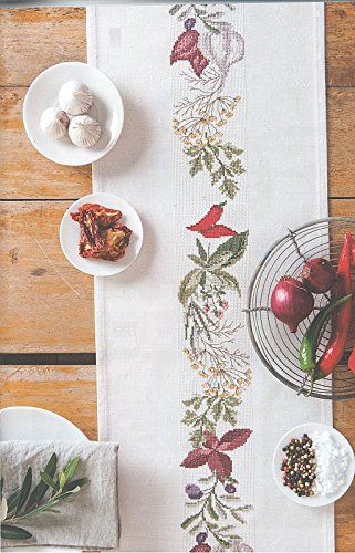 Tischband weiß zum Besticken im gezählten Kreuzstich, ohne Material