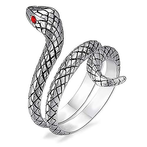 Willys Jewellery - Anello a forma di serpente in argento Sterling 925 con occhi rossi in zirconi per donne e ragazze, facilmente regolabile e Argento, 48 (15.3), cod. SR 40702-48