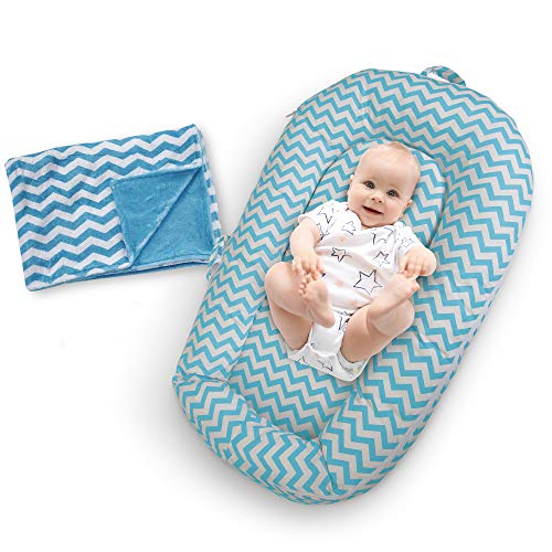 Baby Lounger w/Free Bonus Blankie – Extra Soft Portable Bassinet Pillow Nest for Infant w/Washable, Breathable Cotton Cover & Travel Bag – Great Newborn Gift Idea for Cosleeping (Light Blue)