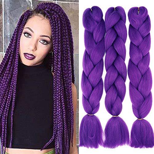 Cybelleza Kanekalon Jumbo Braiding Hair Treccine Extension Capelli Sintetici per Treccine Africane 3 Ciocche Trecce (Viola scuro)
