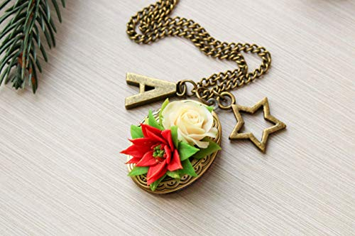 Mflowerjewelry Handmade Xmas Gift Idea For Mother In Law Poinsettia Traditional Christmas Present Initial Locket Necklace Antique Brass Flower Pendant Floral Jewelry Unique Customized Personalized From Amazon Daily Mail