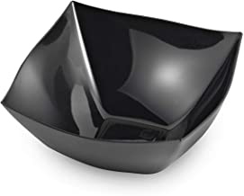 Zappy 8 Ounce Square Black Plastic Serving Bowls Heavyweight Disposable Condiment Bowl, Candy Bowl, Dessert Bowls, 8 Black Bowls | Perfec Salad Bowl, Rice Bowl, Sugar Bowl, or Fruit Bowl for cut fruit