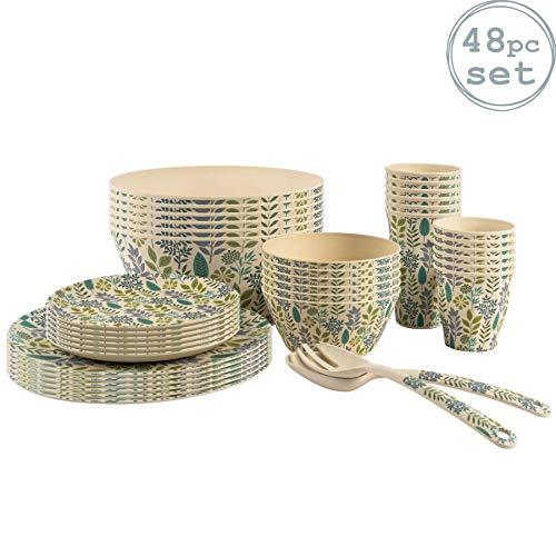 Nicola Spring Respetuoso del Medio Ambiente vajilla de bambú - Fibra Natural de Picnic Vajillas - Placas Cuencos y Tazas para Ensalada - 6 Persona - Leaf