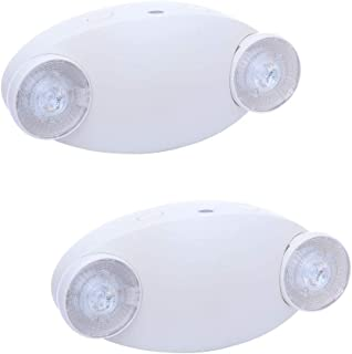 Harmonic Emergency Lights, Adjustable White LED Emergency Light with Back-up Battery, Emergency Lighting with UL Certification for Home and Business, Commercial LED Emergency Light Fixture (2 Pack)