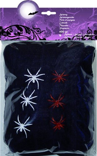 les colis noirs lcn Décoration Toile d'araignée Noire avec araignées Halloween 100g - Taille - Taille Unique - 219031