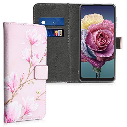 kwmobile Wallet Case kompatibel mit Samsung Galaxy A21s - Hülle Kunstleder mit Kartenfächern Stand Magnolien Rosa Weiß Altrosa