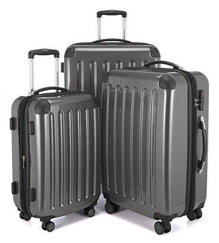HAUPTSTADTKOFFER - Alex - 3er Koffer-Set Trolley-Set Rollkoffer Reisekoffer Erweiterbar, 4 Rollen, TSA, (S, M & L), Titan