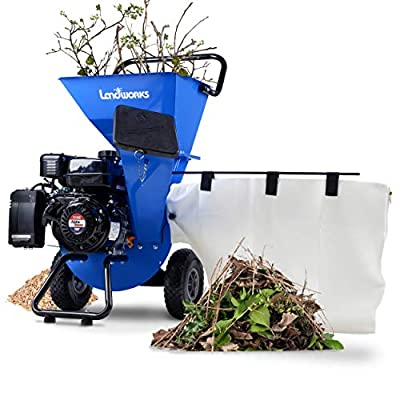 "Landworks Wood Chipper Shredder Mulcher Super Heavy Duty 7 HP 212cc Gas Powered 3 in 1 Multi-Function 3"" Inch Max Wood Diameter Capacity EPA/CARB Certified Aids Fire Prevention & Building a Firebreak"