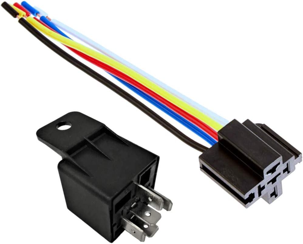 EASYGUARD SPDT car Relay Automotive Relay with Socket Wires 12V 30//40 AMP 5pin 5