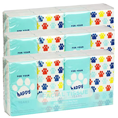 Pocket Sized Travel Facial Tissue, 24 Packets, 216 Sheets, Dog Paws