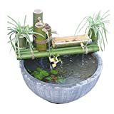 WLALLSS Kit Fuente bambú Solar, Acentos Característica del Agua Decoración la Bomba Caño Agua con Bomba Esculturas Estatuas Artesanía jardín Decoración del hogar, 50 CM