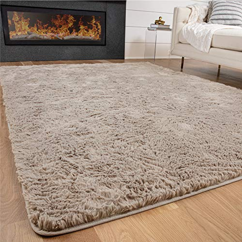 Gorilla Grip Original Premium Fluffy Area Rug, 7.5x10 Feet, Super Soft High Pile Shag Carpet, Washer and Dryer Safe, Modern Rugs for Floor, Luxury Carpets for Home, Nursery, Bed and Living Room, Beige