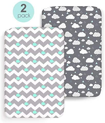 COSMOPLUS Stretch Fitted Pack n Play Playard Sheets - 2 Pack for Mini Crib Sheet Set,Pack n Play Mattress Cover, Ultr...