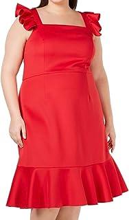 Betsey Johnson womens Scuba Midi Dress with Ruffled Shoulders Casual Dress